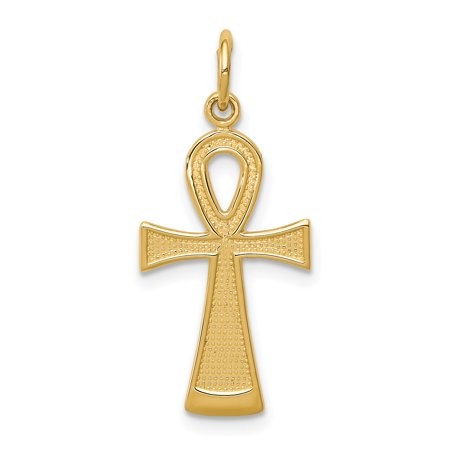 Gold Ankh Charm - 14k Yellow Gold Ankh Cross Religious Pendant Charm Necklace Gifts For Women For Her