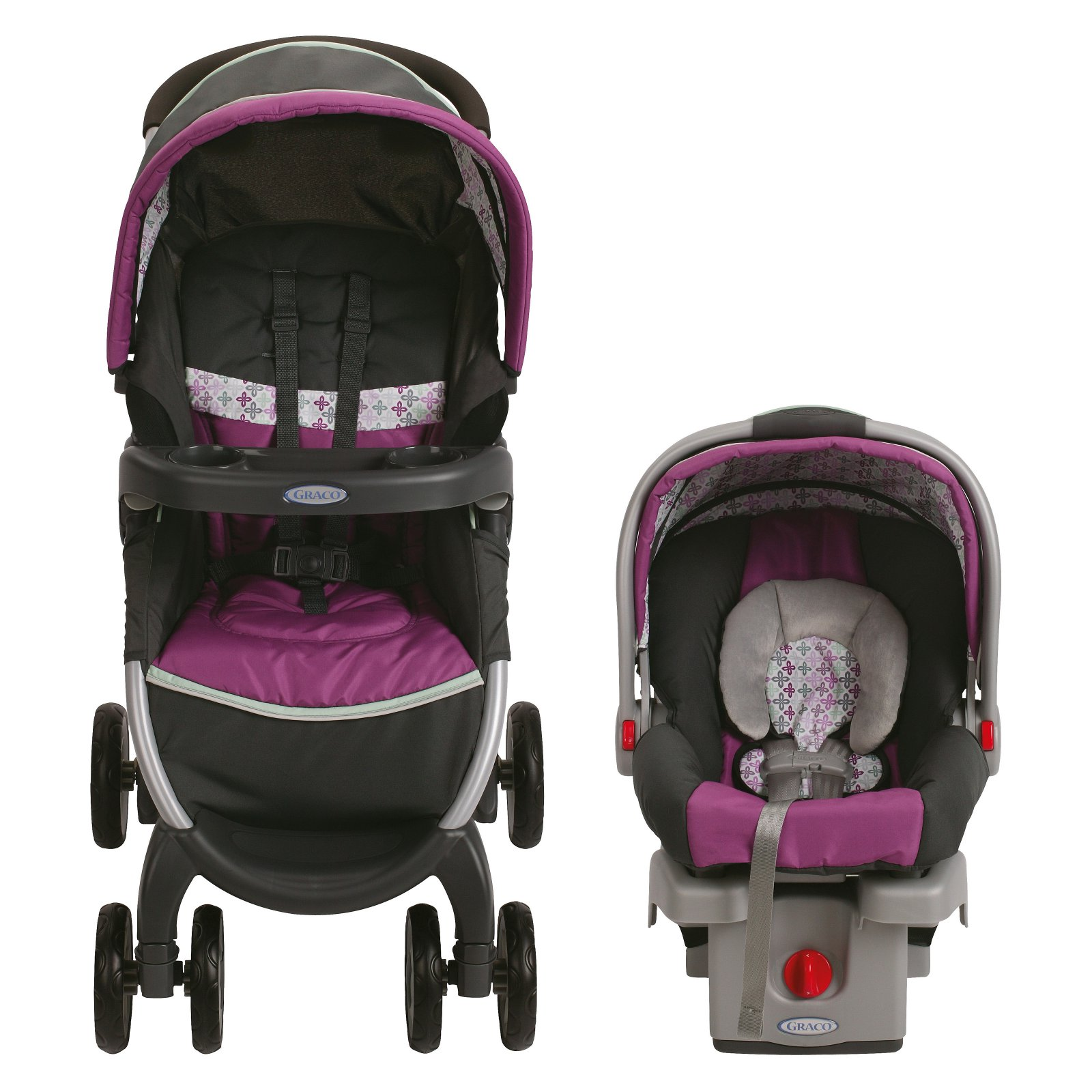 Graco Baby Stroller Car Seat Combo Travel System Fold Click Pushchair Purple