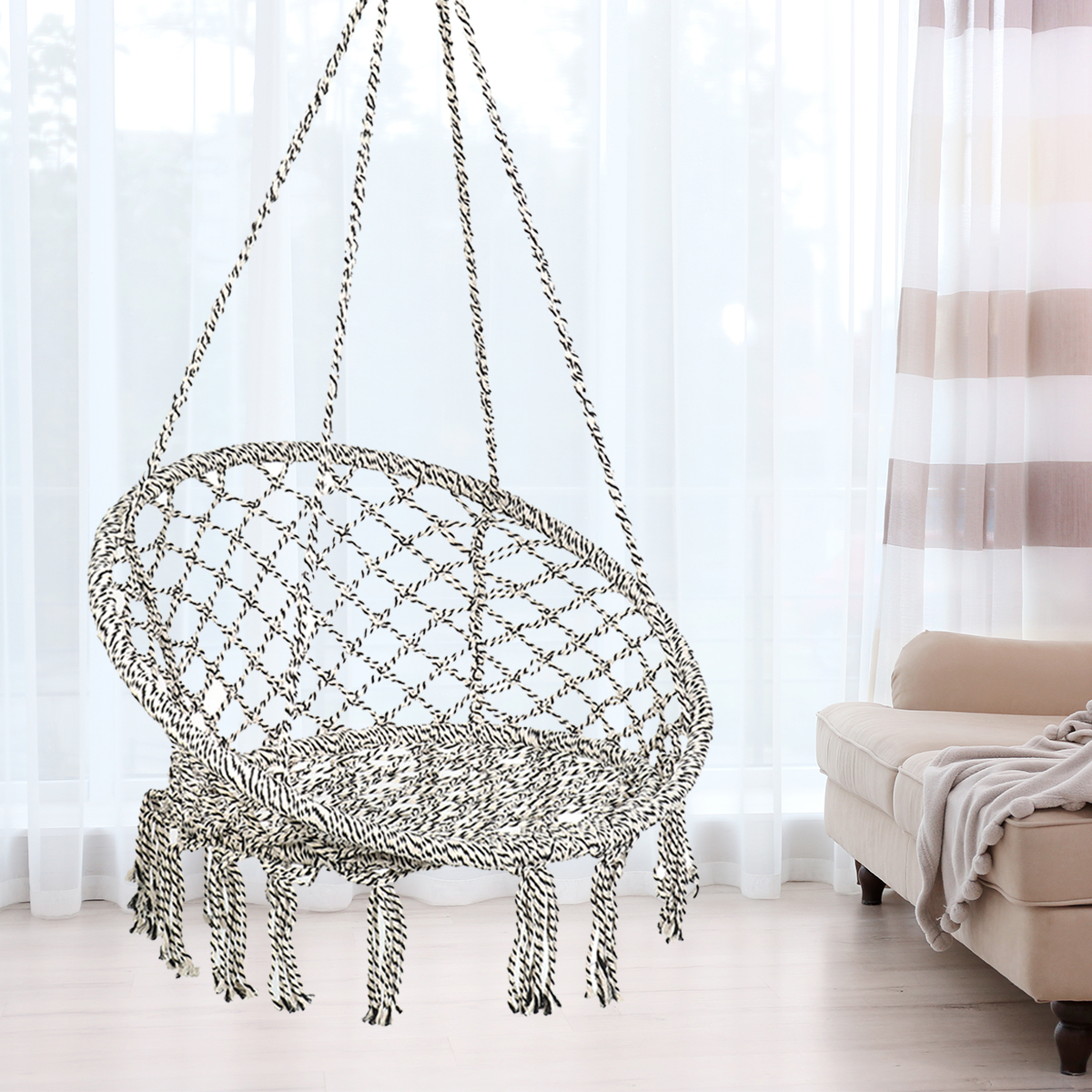Hammock Chair Macrame Swing With Hanging Hardware Kit Handmade Knitted Cotton Rope Hanging Chair For Indoor Outdoor Max Weight 265 Lbs Walmart Com Walmart Com