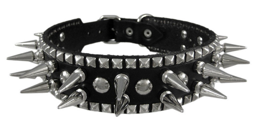 Genuine Leather Dog Collar with 1 inch Spikes by Brackney