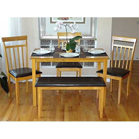 Maple Dining Table And Chairs - SK New Interiors Dining Kitchen Set of Rectangular Table and 3 Wood Warm Chairs 1 Stained Bench, Maple