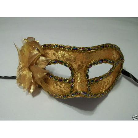 Gold Flower Multi Trim Masquerade Party Value Mardi Gras Halloween Mask - Vause Halloween