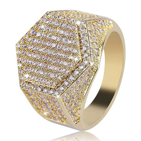 KABOER Menand#39;S Ring Hip Hop Micro Pave Cz Finger Ring Silver Gold Diamond Square Rings For Men Jewelry(Size:7-12) Cz Square Pave Ring