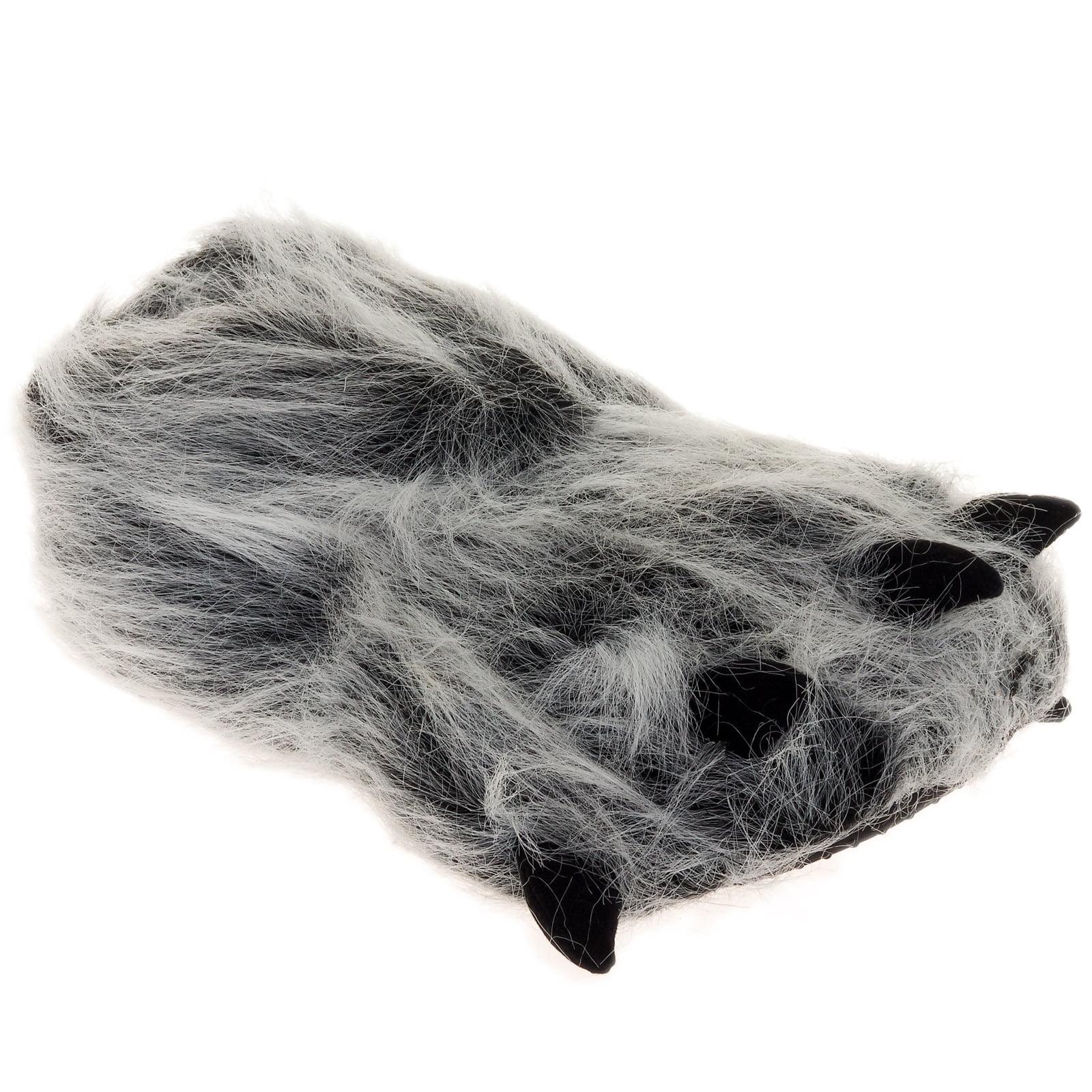 SILVER LILLY NEW Gray Bear Paw Plush Animal Halloween Costume Slippers (Medium)