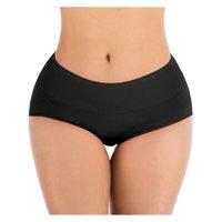 SAYFUT Women's High Waist Underwear Seamless Brief Panties Full Coverage Comfortable Cotton Underwear  4-Pack