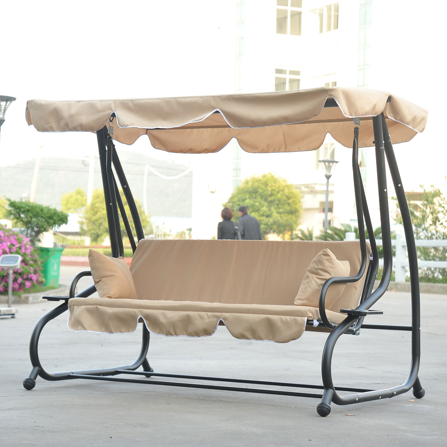sc 1 st  Walmart & Outsunny Covered Porch Swing / Bed with Frame - Sand - Walmart.com