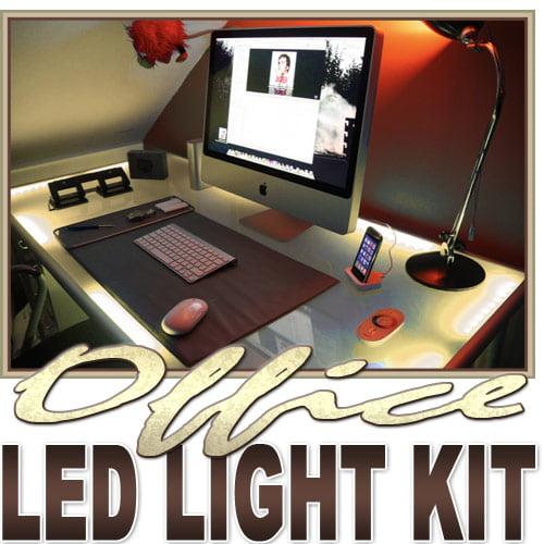 Biltek 2' ft Warm White Desk Hutch Drawers Laptop LED Strip
