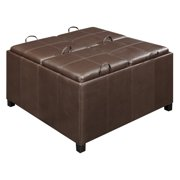 Convenience Concepts Designs4Comfort Times Square Ottoman w/ 4 Tray Tops