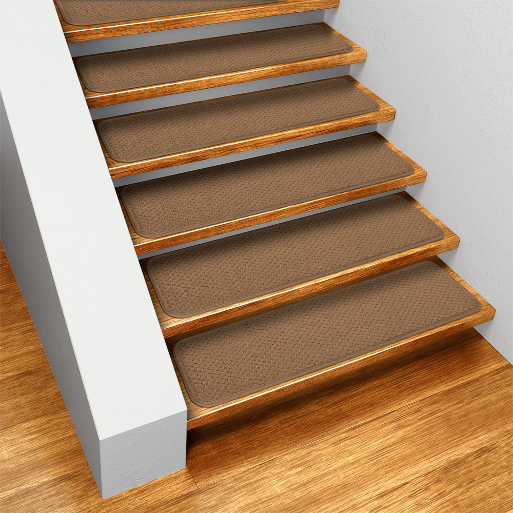 Set of 12 Skid-resistant Carpet Stair Treads - Toffee Brown - 8 In. X 23.5 In. - Several Other Sizes to Choose From