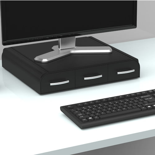 Mind Reader ' Perch' PC, Laptop, IMAC Monitor Stand and Desk Organizer, Black by EMS Mind Reader LLC