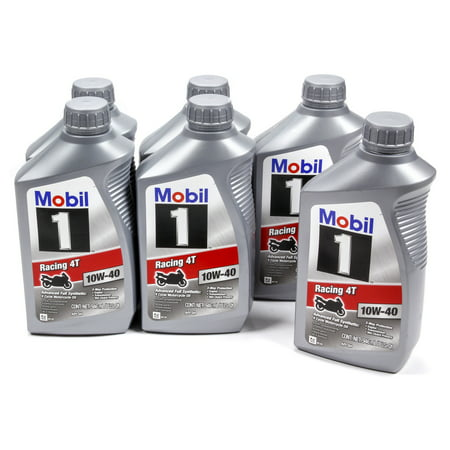 Mobil 1 10W40 Synthetic 4T Motorcycle Motor Oil 1 qt 6 pc P/N