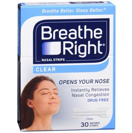 Breathe Right Nasal Strips Clear Small Medium 30 Each  Pack Of 3