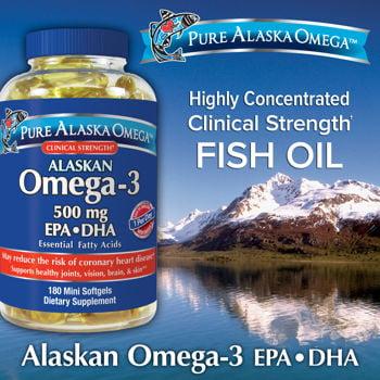 Pure Alaska Omega - 3 500 mg. EPA + DHA, 180 gélules