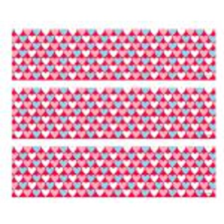 Pink, White & Blue Hearts -1/4 (Quarter Sheet) Edible Cake Decorating Strips