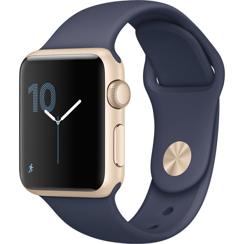 Refurbished Watch Series 1 38mm Gold Aluminum Case Midnight Blue Sport Band Appe MQ102LL/A