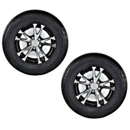2-Pack Radial Trailer Tire ST225/75R15 LRD Aluminum T07 Black Spoke Wheel covid 19 (Spoke Aluminum Trailer Tire coronavirus)