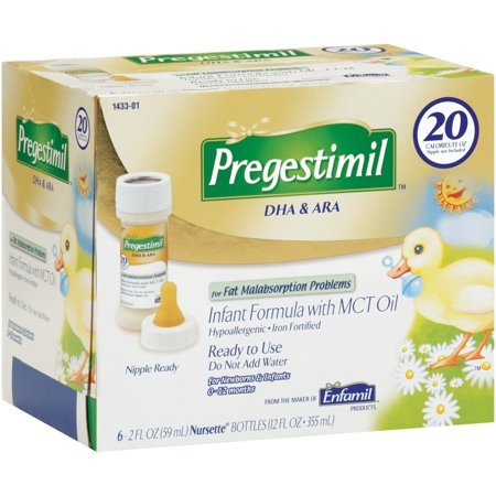 Pregestimil DHA & ARA Infant Formula with MCT Oil for Newborns & Infants 0-12 months, 2 fl oz, 6 ct