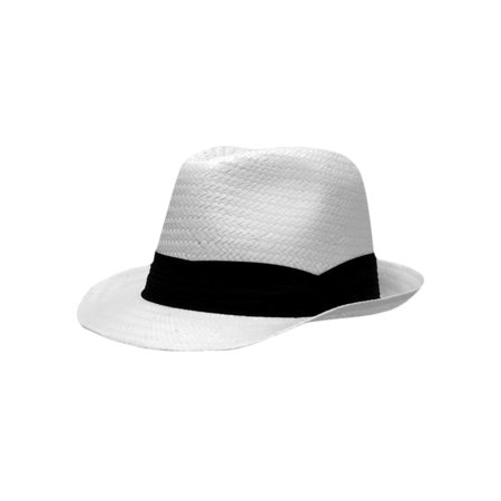 White Toyo Fedora With Black Hat Band