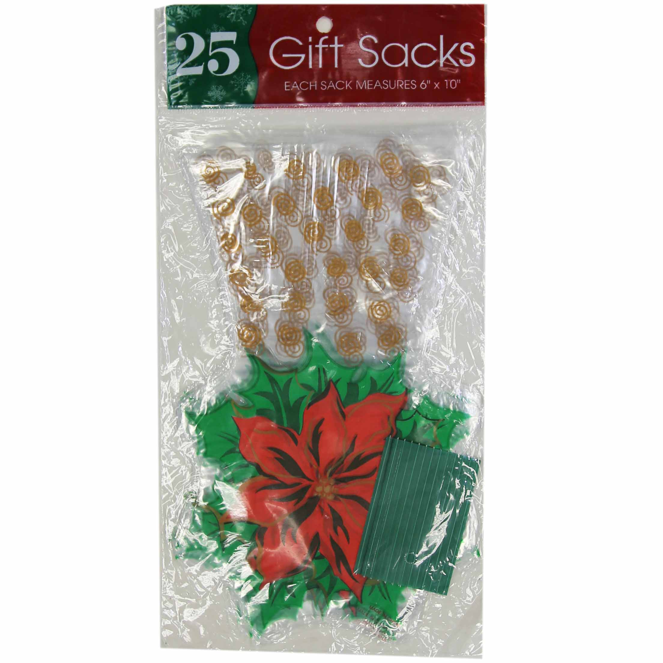 """Cello Plastic """"Poinsetta"""" Holiday Treat/Gift Bags- Includes Twist Ties (25 Count)"""