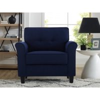 Lifestyle Solutions Hactor Chair with Upholstered Microfiber Fabric Rolled Arms, Navy