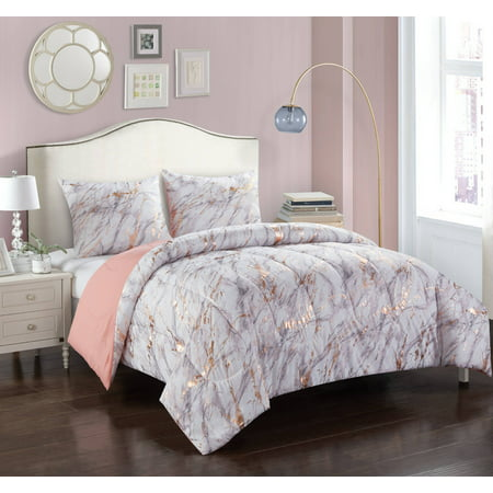 Your Zone Metallic Marble Comforter Set, Multiple Colors