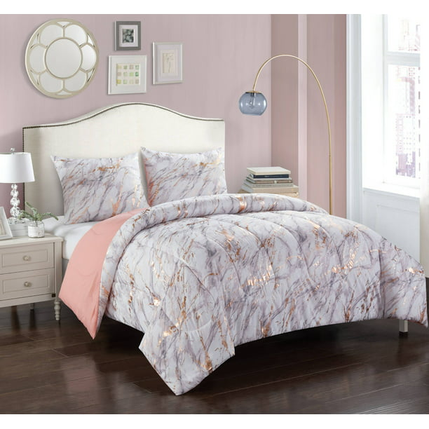 Your Zone Metallic Marble Comforter Bedding Set Twin Twin Xl Rose Gold Walmart Com Walmart Com