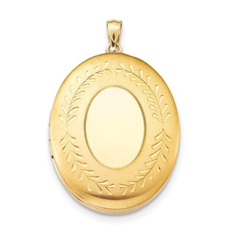 14k Yellow Gold Filled Satin Polished Laser-cut Sparkle-Cut Holds 2 photos 2-Frame Oval Locket