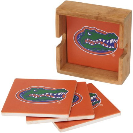 Florida Gators 4-Pack Square Coaster Set with Caddy - No Size ()