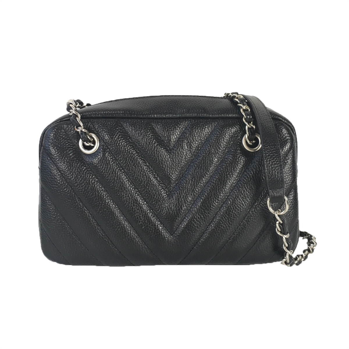 Zenith Chevron Quilted Leather Chain Crossbody, Black