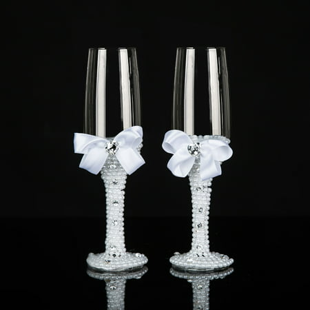 Decorative Wedding Glasses Mrs And Mr Champagne Flutes Toasting Glasses For Bride And Groom - Wedding Gift Idea