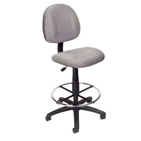 (Boss Office & Home Transitional Grey Contoured Comfort Adjustable Rolling Drafting Stool Chair)