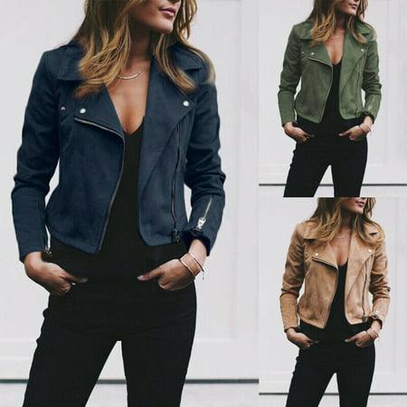 Coat Outwear Women Fashion Leather Jacket Coats Zip Up Biker Flight HOT S~XL Womens Leather Mesh Jacket