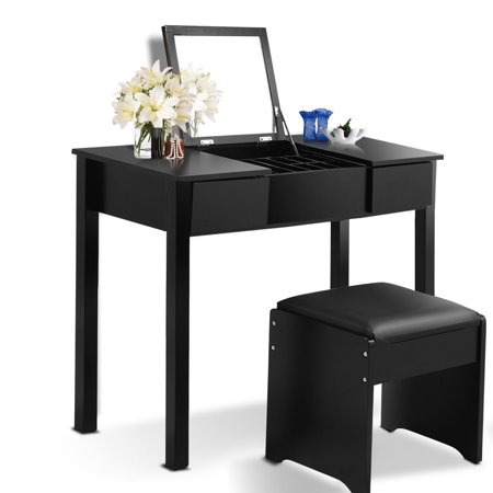 Costway Black Vanity Dressing Table Set Mirrored bathroom ...