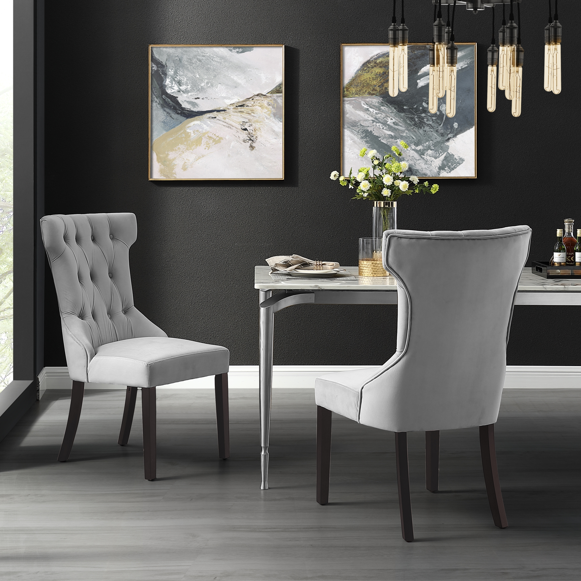 Adalynn Light Grey Velvet Dining Chair - Set of 2 ...