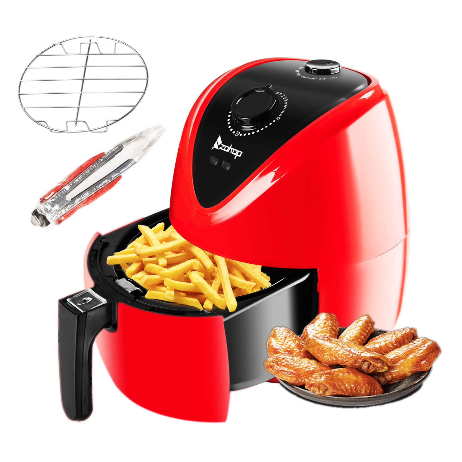 Zimtown Air Fryer 1500W Air Fryer Oil Free Low fat Timer & Temperature Control Red Electric-ETL Listed