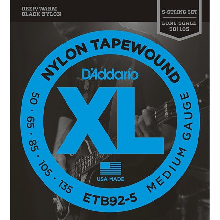 D'Addario ETB92-5 Medium Black Nylon Tapewound 5-String Bass Strings Daddario Chrome Bass Strings