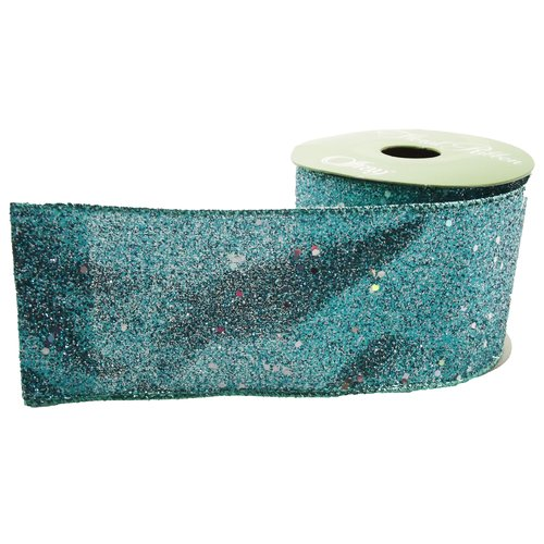 "Offray Glitterie Wired Edge 2-1/2"" x 15' Floral Ribbon, Aqua"