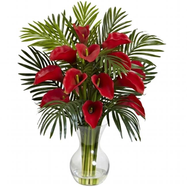 Nearly Natural 1301-RD Calla Lily & Areca Palm Silk Flower Arrangement - Red