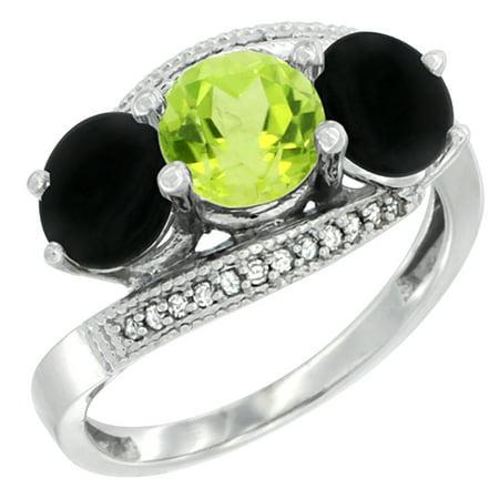14K White Gold Natural Peridot & Black Onyx Sides 3 stone Ring Round 6mm Diamond Accent, sizes 5 - 10 Black Onyx 3 Stone Ring