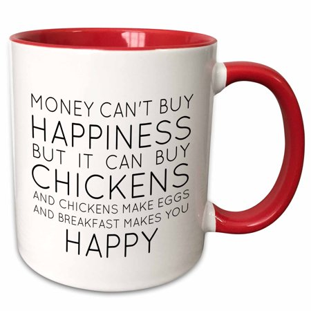 3dRose Money cant buy happiness but it can buy chickens - Two Tone Red Mug, 11-ounce