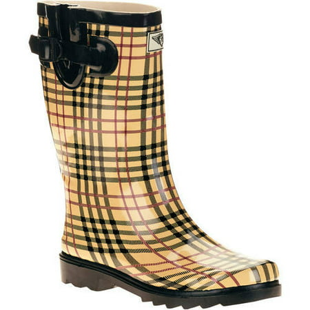Forever Young Womens Plaid Short Shaft Rain Boots