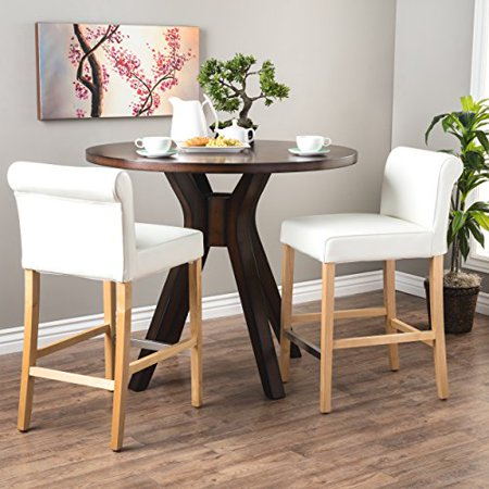 (ModHaus Living Modern White Leather Upholstery Set of 2 Low Back Counter Stool with Wood Legs and Metal Footrest - Includes Pen)