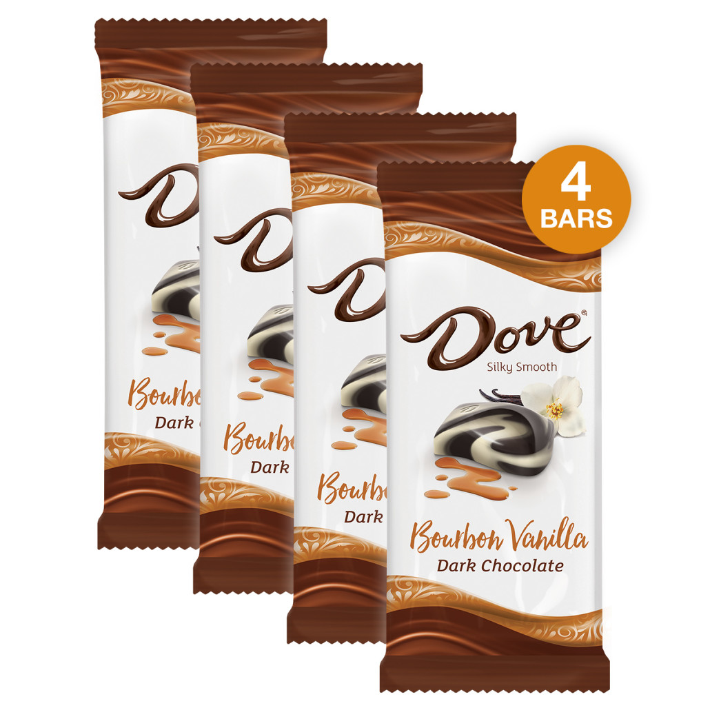 (4 pack) Dove Dark Chocolate Bourbon Vanilla Candy Bar, 3.3 Oz