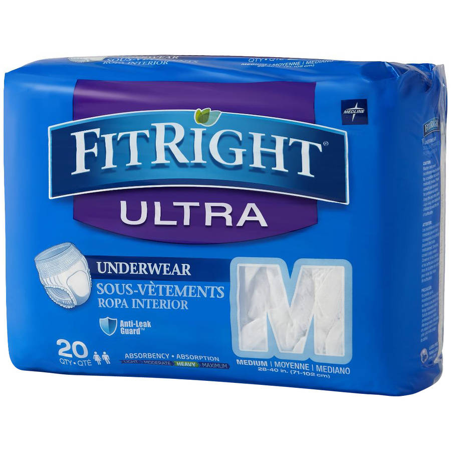 Medline FitRight Ultra Protective Underwear, Medium, 20 count, (Pack of 4)