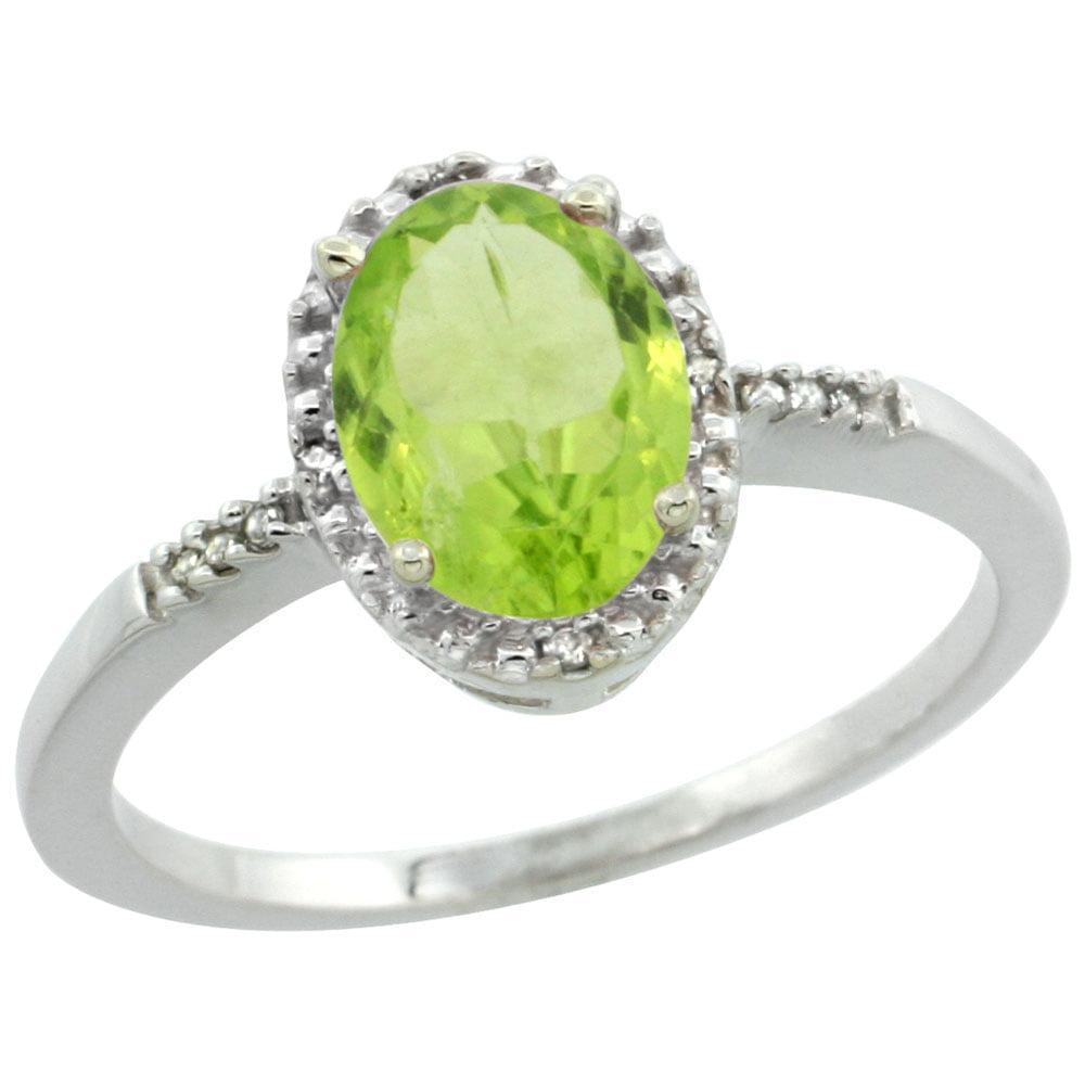 10K White Gold Diamond Natural Peridot Ring Oval 8x6mm, sizes 5-10 by WorldJewels