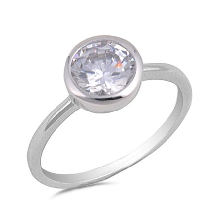 CHOOSE YOUR COLOR Solitaire White CZ Bezel Wedding Ring New .925 Sterling Silver -