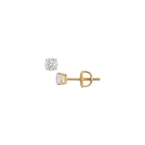 FineJewelryVault UBER18YG4RD025DSI-101 18K Yellow Gold : Round Diamond Stud Earrings - 0. 25 CT.  TW.