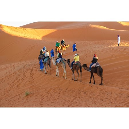 Canvas Print Sand Dunes Golden Sands Caravan Camel Riding Trip Stretched Canvas 10 x 14
