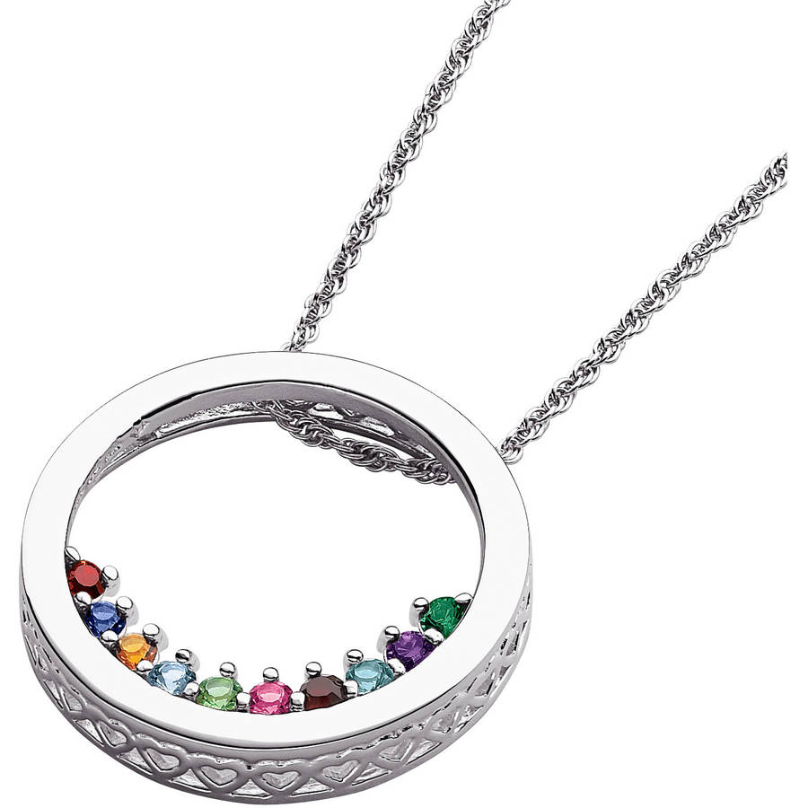 Personalized Women's Sterling Silver Mother's Birthstone Circle Slider Necklace, 20""