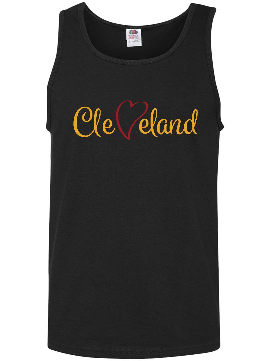 Cleveland Heart Cursive Red and Gold Men's Tank Top